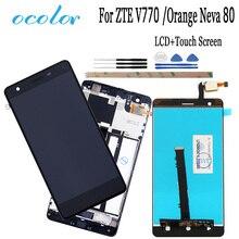 Ocolor לzte להב V770 LCD תצוגת מסך מגע עם מסגרת Digitizer עצרת + כלים עבור ZTE להב V770 כתום נבה 80