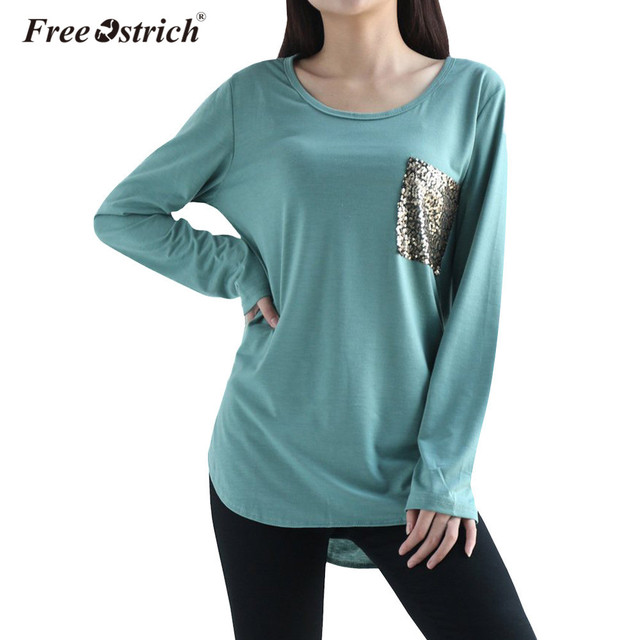 Free Ostrich T-Shirts Women 2018 Stitching Pocket Spring Loose O Neck Sexy  Casual Long 447a0ff5ec99