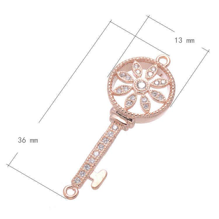SONGDA Charm Micro Pave CZ colgante redondo hueco flor diseño de llave colgante DIY mujeres collar accesorio decoración joyería PX0293