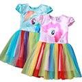 2016 nuevas muchachas de la historieta del verano de la Princesa muchachas del vestido del tutú vestido de los niños del arco iris de manga corta bebé vestido vestido de encaje 4 colores
