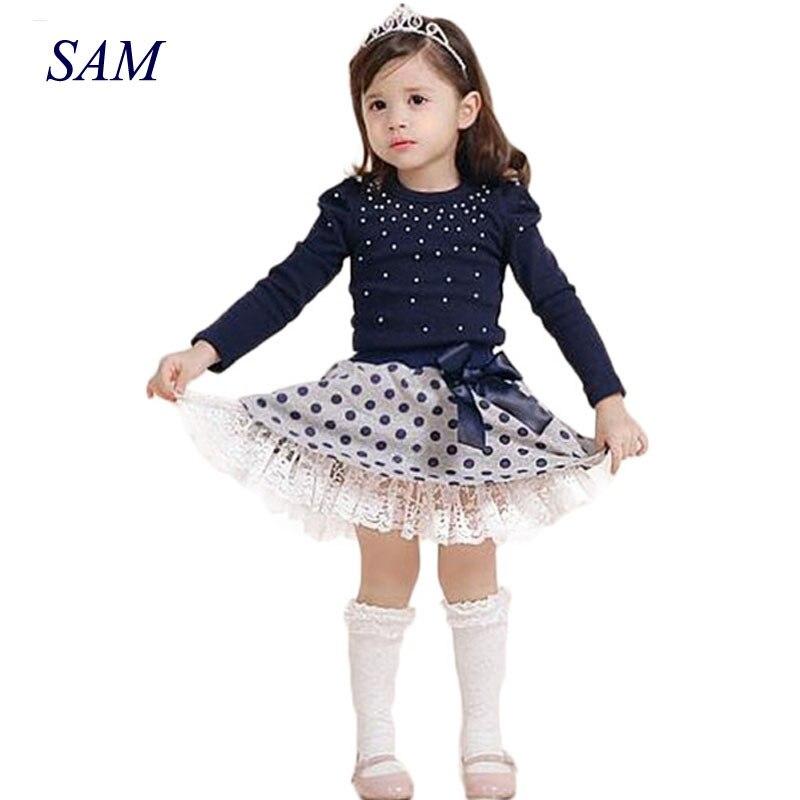 2017 Girls Set Cotton Long-sleeved Dot Girls Clothing T Shirt+skirt Suit Girls Princess Dress Children's Sets