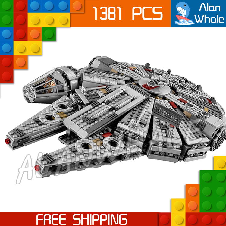 1381pcs Space Wars Millennium Falcon Spaceship Battle Ship 10467 Model Building Blocks Bricks Children Toys Compatible With Lego toys in space