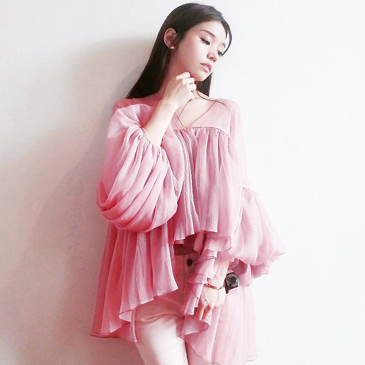 2018 nouveau mode femmes printemps été col en V lanterne manches en mousseline de soie Blouse chemise femme lâche Blouse hauts