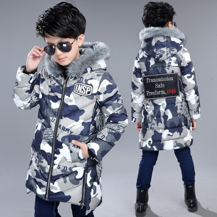 Baby Boys Winter Jackets Children Down Parkas 5-15Y Children's Hooded Coats Kids Down Jacket Cold Winter Outwear Fur Collar