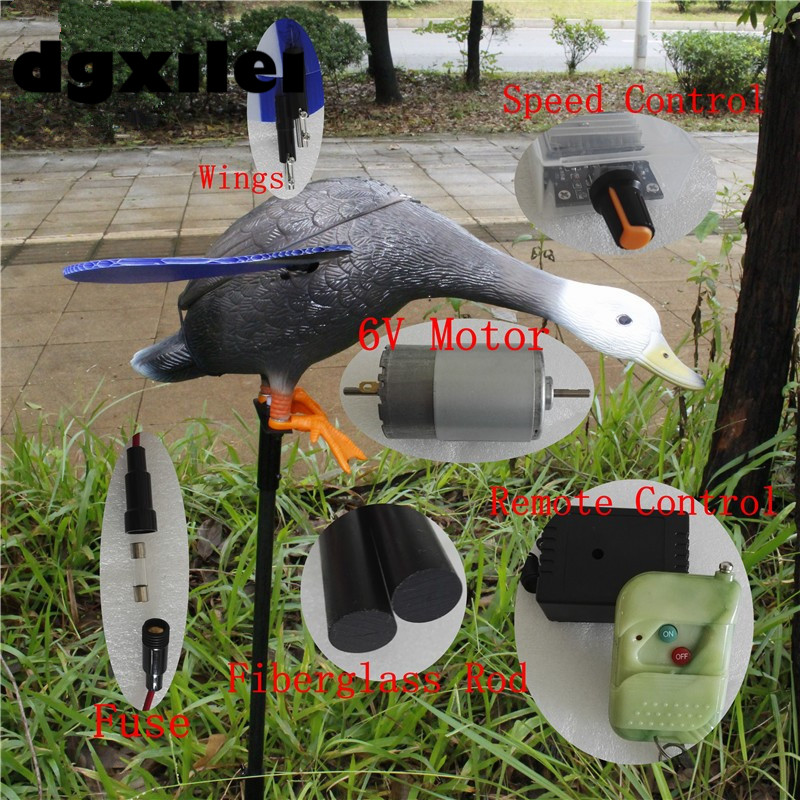 Xilei Wholesale 6V Remote Control Pe Mallard Decoy Goods For Hunting Duck With Magnet Spinning Wings xilei outdoors quail audio devices 50w 150db remote control 798b hunting bird with timer