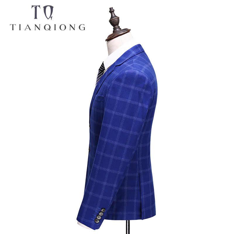 天原作メンズロイヤルブルー格子縞のスーツ 2018 スリムフィットウェディング男性高品質ビジネスフォーマルスーツ 3 ピース S-XXXXXL