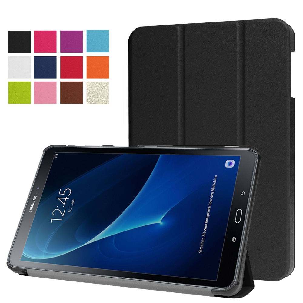 Ultra Slim 3-Folder Folio Stand PU Leather Flip Magnetic Cover Case For Samsung Galaxy Tab A 10.1 2016 T580 T585 10.1 Tablet tab a t580 10 1 pu leather case cover colorful print slim folder folio protective stand fundas for samsung galaxy taba 10 1 t580
