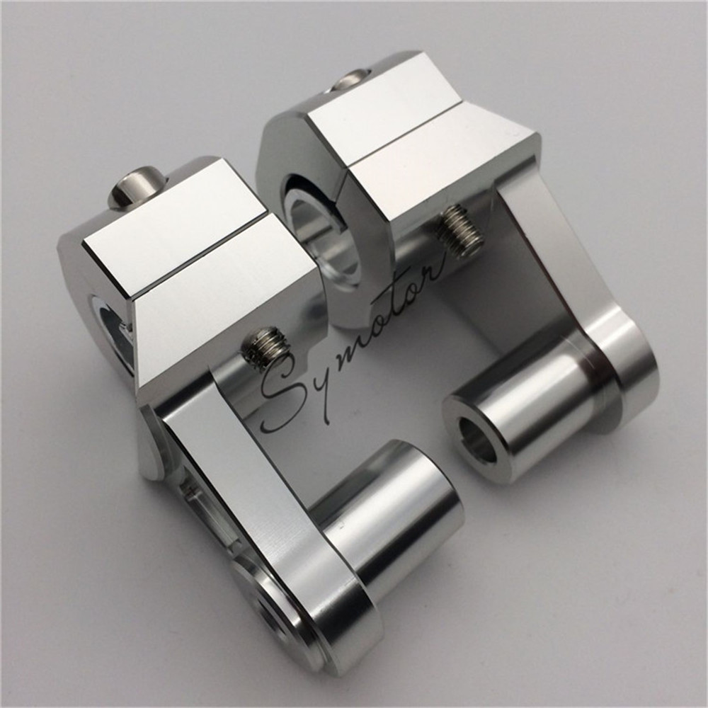 silver Universal Anodized 2 Inch Pivoting Motorcycle Handlebar Riser For 7/8 22mm and 1 1/8 28mm fat handleBars Clamp
