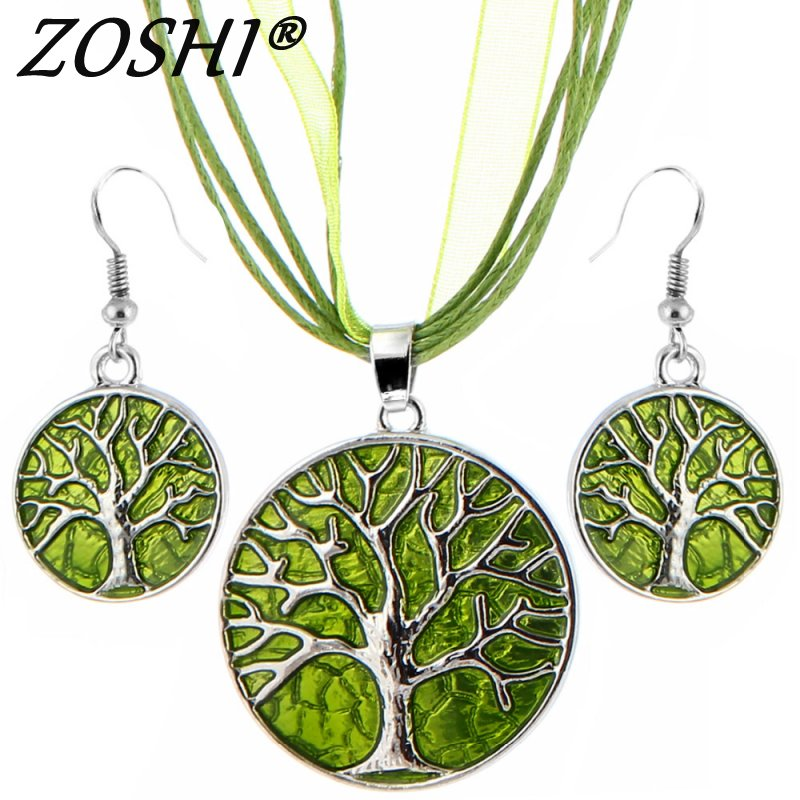 Colorful African Enamel Wedding Jewelry Sets Lucite Multilayer Leather Chain Tree Pendant Earrings Turkish Jewelry Set for Women