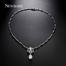 NEWBARK Romantic Necklaces Hollow Butterfly & Pear Shaped Zircon Necklaces Pendants 28 Pcs Curving Chain Connected Women Jewelry