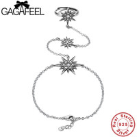 GAGAFEEL Adjustable 925 Sterling Silver Star Bangles Bracelets Link Ring For Women Wedding Party Jewelry Gifts
