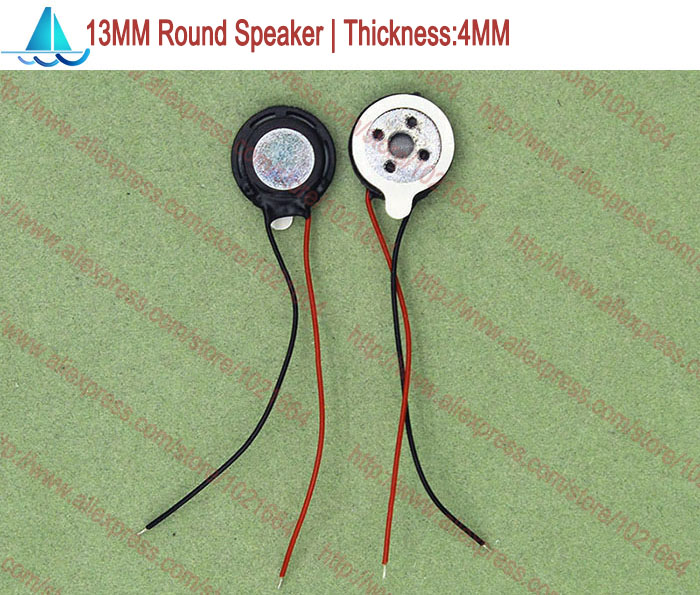 20pcs Acoustic <font><b>Speaker</b></font> F13 13MM Round Tablet Phone MP3 <font><b>Speaker</b></font> <font><b>1W</b></font> <font><b>8</b></font> <font><b>Ohms</b></font> Thickness 4MM With Wires image