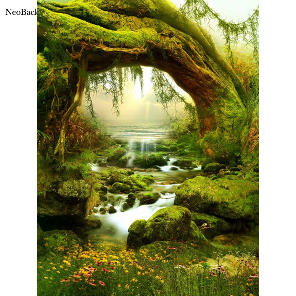 NeoBack Spring Forest Creek Scene Fairy Tale Nature Photography Backgrounds New Born Baby Props Children Photo Backdrops A0026