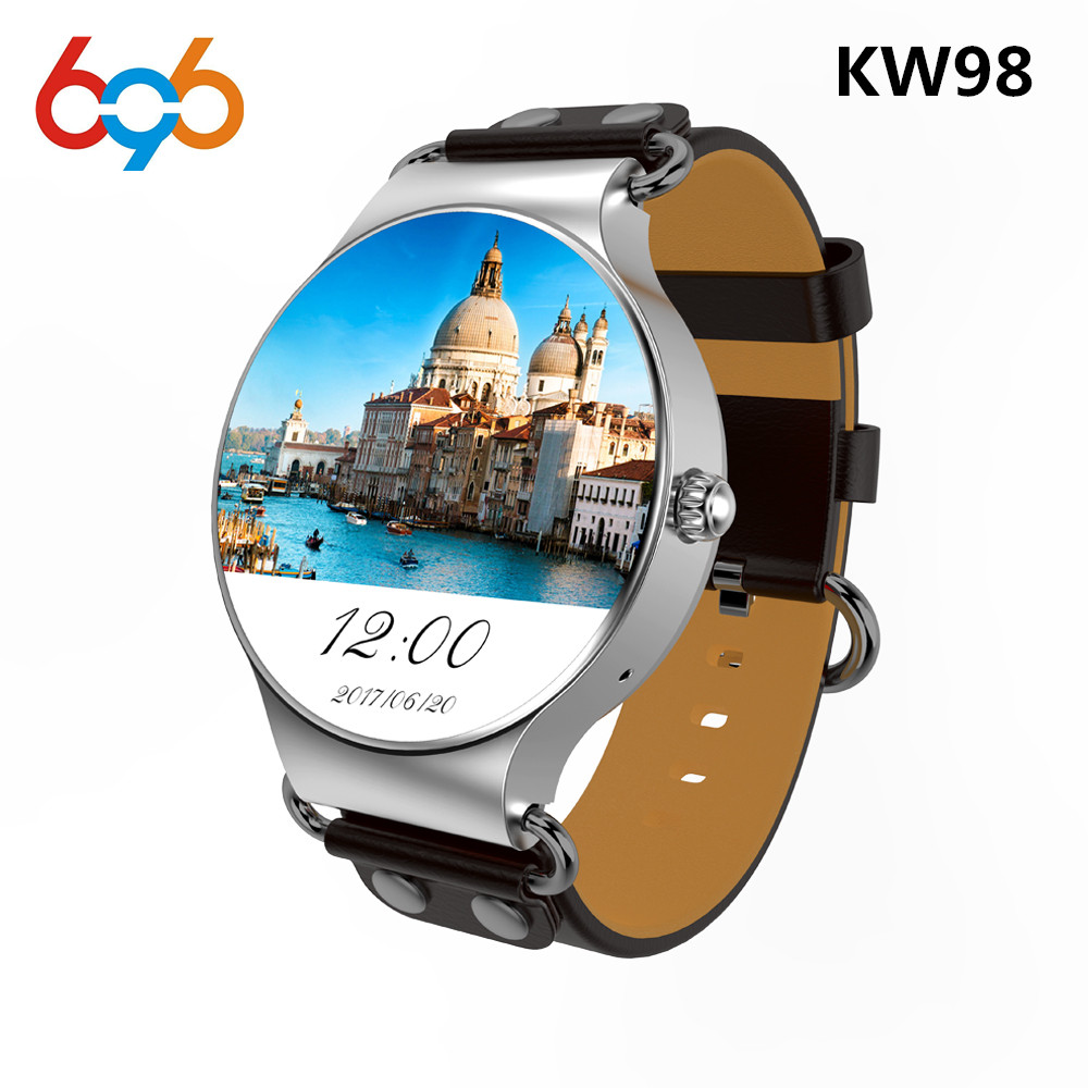 696 KW98 Smart Watch Android 5.1 8GB/512MB Wifi GPS Bluetooth Smartwatch Heart Rate Monitor MTK6580 Android Watch For men