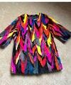 Fashion Colorful Garments Womens Real Pieces Mink Fur Overcoat Patchwork Style Rainbow Mink Fur Outwear Random Shipments LX00390