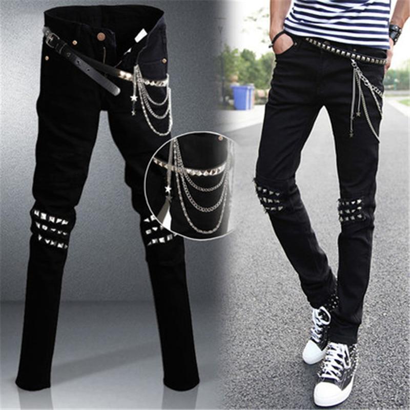 ФОТО YONO New Fashion Men Jeans Denim Pants Slim Fit Punk Chain Revit Pencil Pants Long Biker Jeans Male Trousers Vintage Plus Size