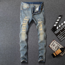 Italian Fashion Style Men Jeans Vintage PatchworStretch Slim Fit Ripped Homme Famous Brand Destroyed Biker