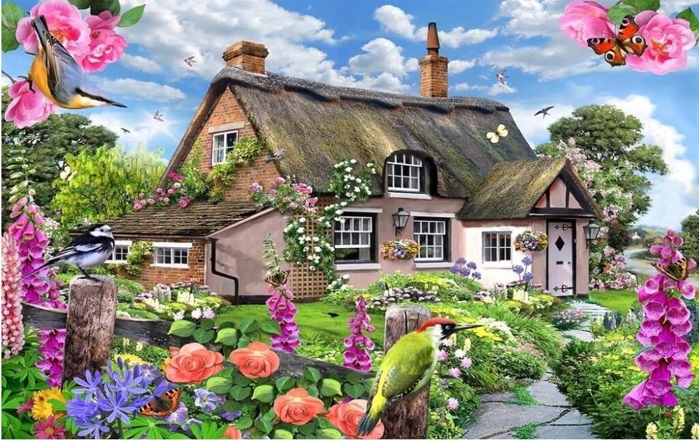 13 85 46 De Reduction Personnalise Mural Photo 3d Papier Peint Maison De Campagne Avec Colore Salon De Jardin Decor Peinture 3d Peintures Murales