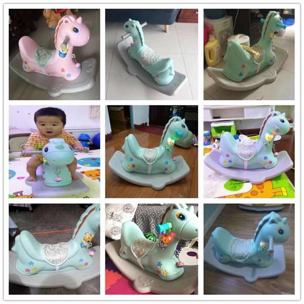 Bébé brillant enfants cheval à bascule bébé chambre Ride sur jouets jeux extérieur/intérieur pour enfants 1-6 ans chaise en plastique épais - 6