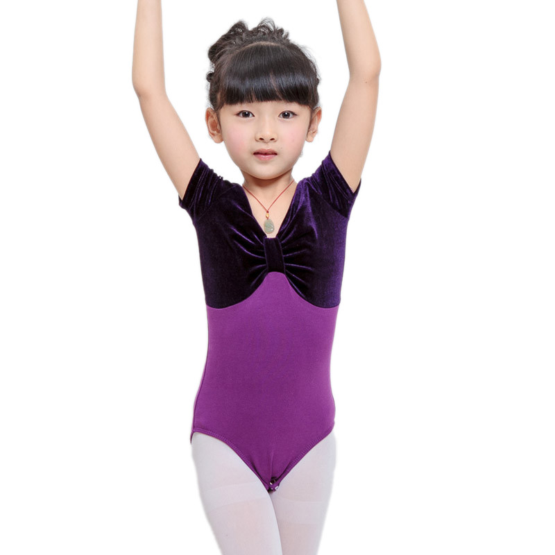 High Quality Pleuche Gymnastics Leotard For Girls Girl's Purple Ballet Leotards Girl Unitard Clothes Dance Costume Dance Suit