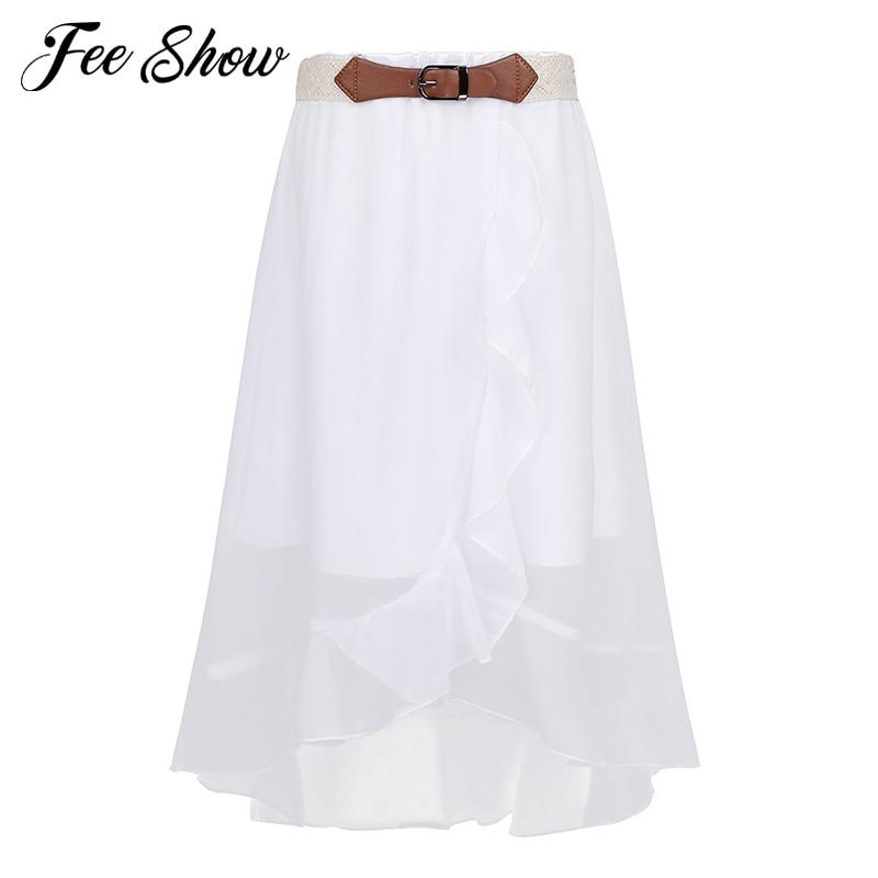 Girls Summer Casual Chiffon Skirt Child Party Holiday Ruffle Front Maxi Skirt