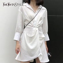GALCAUR Ruched נשים של חולצה שמלת טלאים V צוואר פנס שרוול טוניקת גבוהה מותן מיני שמלות נקבה סתיו OL בגדים
