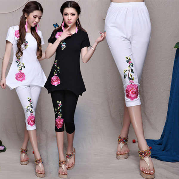 Ethnic Trousers Summer Fashion Ladies Flower Embroidery Elastic Pencil Pant Leggings Women Pants Plus Size M L XL 2XL 3XL 4XL