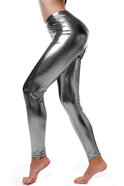 7b2fd222318a5 Women High Elastic Sparkle Leggings Liquid Wet Look Shiny Metallic High  Waist Stretch Leggings