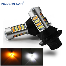 MODERN CAR P21W/Bau15s Ba15s 1156 PY21W/T20 7440 T25 3156 LED Day Lights Bulb WY21W 60W 42SMD 2835 Chips DRL+Turn Signal Lights 2 blanco p21w 50w led cree chips 1156 382 ba15s drl bombillas durante el drl luces de marcha atras indicadores for skoda vw audi