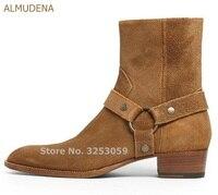 Альмудена Европейский высокое качество натуральной кожаные ковбойские ботинки Туфли с ремешком и пряжкой цепи мотоботы Крутые ботинки чел