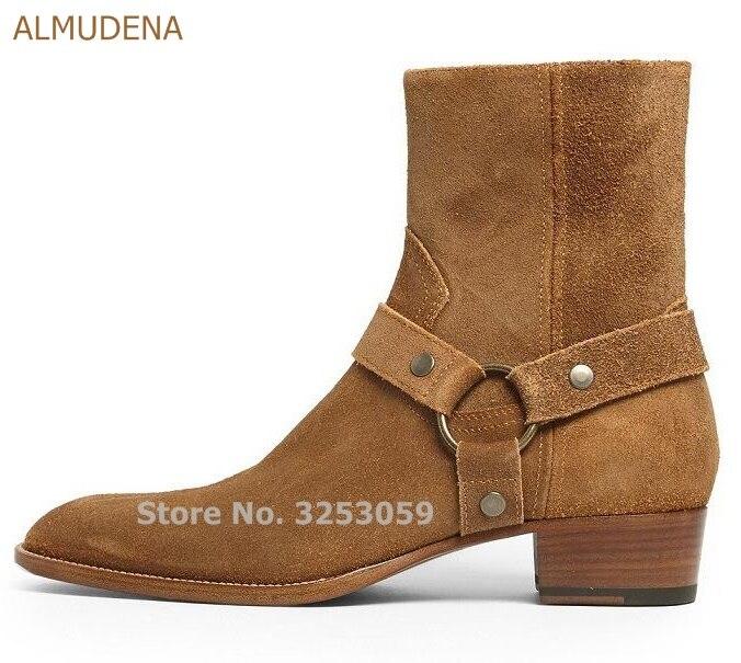 ALMUDENA européen haute qualité en cuir véritable Cowboy bottes boucle sangle chaîne moto bottes Cool Chelsea bottes hommes chaussures
