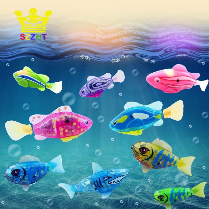 Flash Swimming Electronic Fish Pet Bath Toys Battery Powered Swim Robotic For Children Kids Bathtub Fishing Tank Decoration Gift
