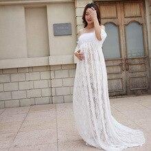 2018 Nova Moda mulher grávida trailing vestido da foto do retrato mulher grávida Mamãe roupas Fotografia Vestido de Mulher Grávida