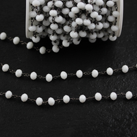 5x8mm,Faceted White Color Glass Rondelle Beads Chains,Wire Wrapped Gun Black Plated Copper Jewelry for Bracelet Earrings