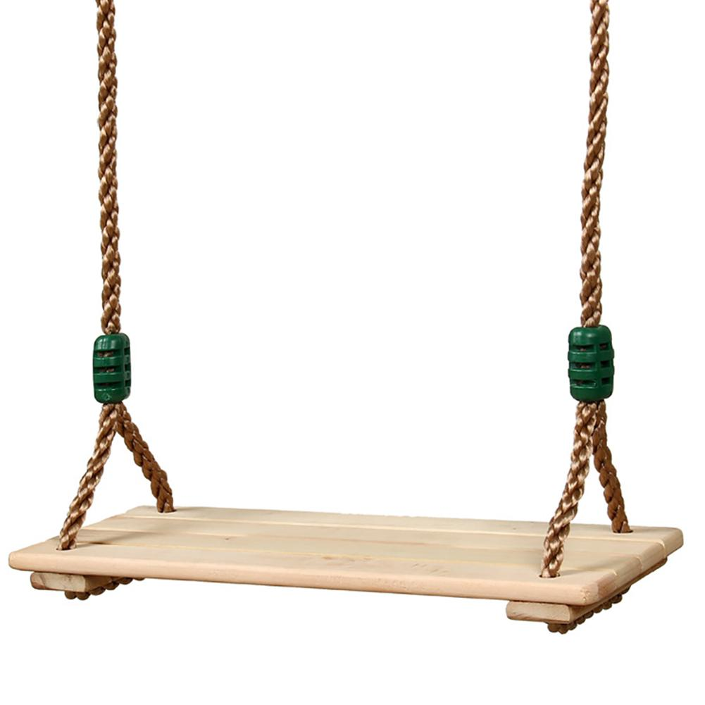 High-Quality Polished Four-Board Anti-Corrosion Wood Swing Outdoor Indoor Pastoral Wooden Swing for Adults Children