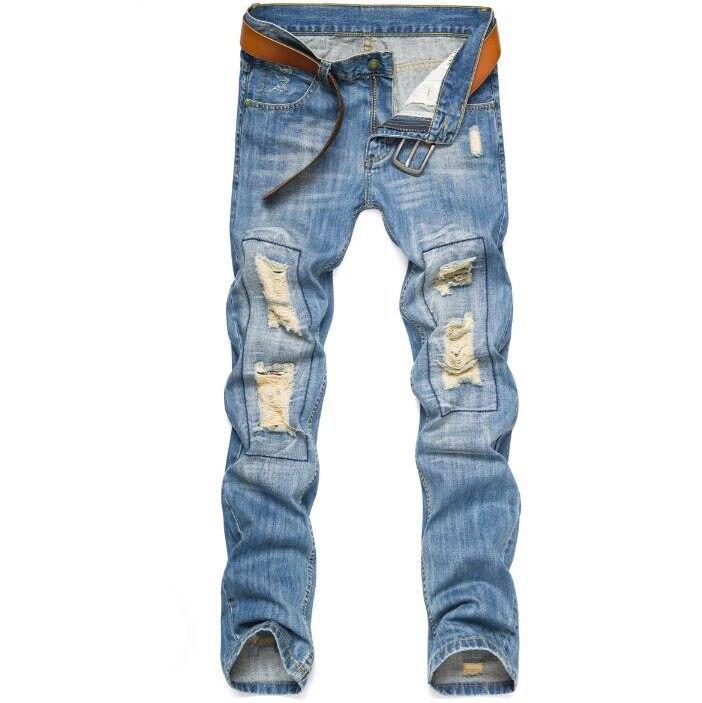 #1933 2016 Destroyed jeans men Fashion slim fit Ripped jeans for men Skinny Mens biker jeans Distressed jogger jeans Moto