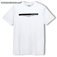 Men clothing 2017 new letters mens dark blue white t shirt shorts print 100% cotton loose simple casual t-shirt CF10796