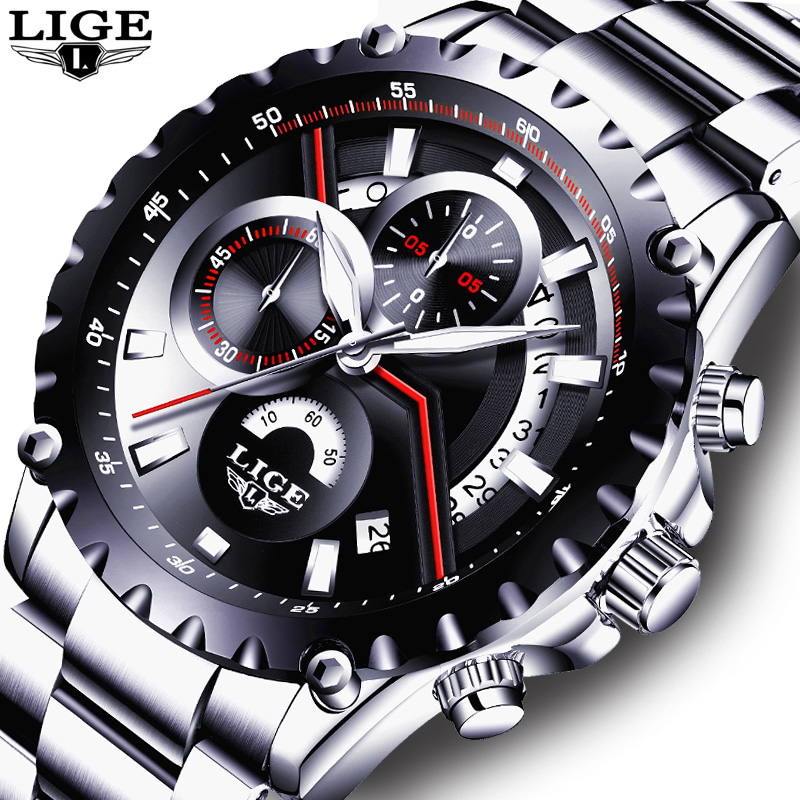 LIGE Brand Men's Fashion Hollow Design Watch Men's Sports Waterproof Quartz Watch Men all Steel Military watch Relogio Masculino