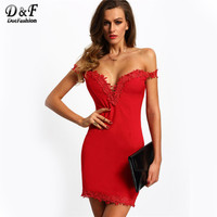 2016 New Arrival Designer Fashion Women Dresses Party Clubwear Sexy Elegant Red Sweetheart Neck Lace Slim
