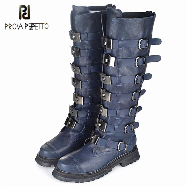 Prova Perfetto Top Sale Original Cow Leather Belt Buckle Woman Boots Thick Bottom Neutral Knight Boots Black blue Long Boots