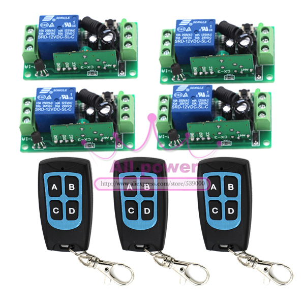 3T+4R DC 12v Relay Wireless Remote Control RF Switch On/off Switch + Delay Time Timer Free shipping / tracking number dc 12v delay relay delay turn on delay turn off switch module with timer mar15 0
