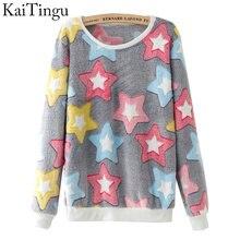 Dámské tričko s dlouhým rukávem a obrázky barevných hvězdiček