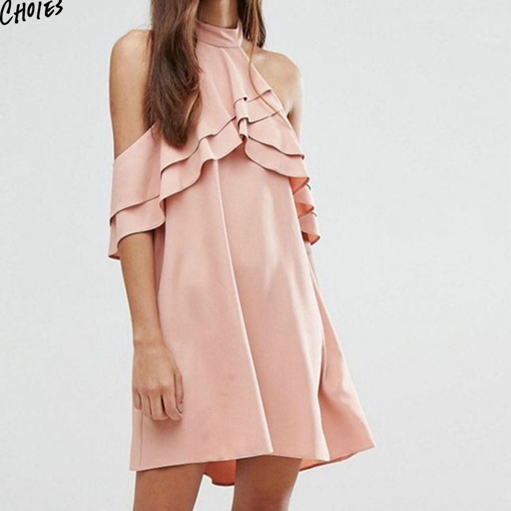 69dd1250a853 Summer Pink Halter Ruffles Layered Cold Shoulder Backless Mini Chiffon Dress  Women Short Sleeve Casual Loose Shift Short Dresses-in Dresses from Women s  ...