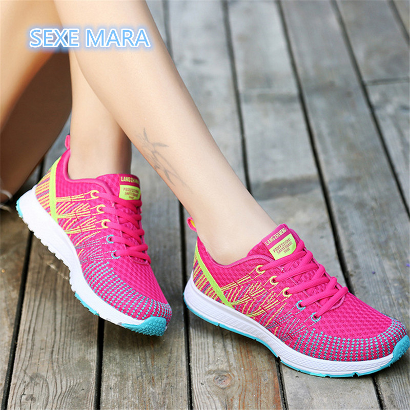 цена на 2017 Breathable Sneakers women shoes Running shoes for women Summer Sport shoes woman Outdoor Trainers Jogging Walking Athletic
