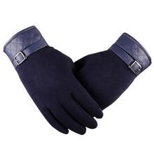 Vysoce kvalitní černé pánské rukavice z vlny a imitace kůže, dotykové prsty