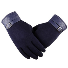 Men s High Quality Fashion Black Winter Warm Gloves For Wool Leather Wrist Soft Cashmere Touch