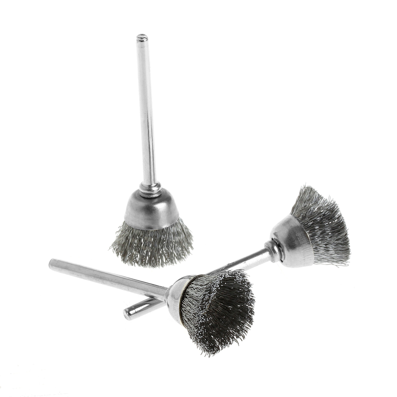 3Pcs/set Steel Wire Wheel Brush Head Abrasive Deburring Drilling Tools Bowl-shape