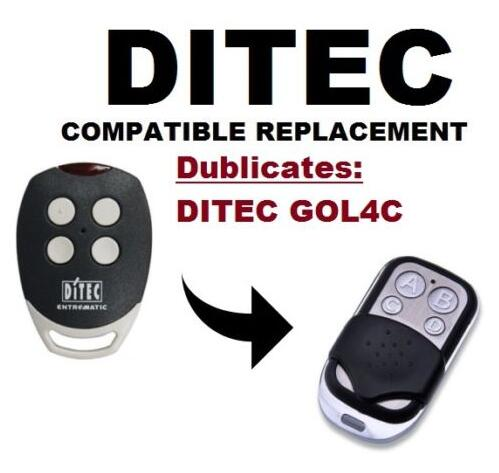 DITEC GOL4C Replacement, Universal remote control transmitter replacement, clone 433.92/433MHz fixed code key fobs