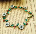 New arrival vintage green leaf rhinestone flower bronze Bracelet women/girls elegant party jewelry accessories