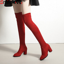 Smirnova big size 33-43 over the knee boots women square high heels boots flock elegant thigh high boots ladies prom shoes